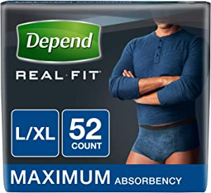Depend Real Fit Incontinence Underwear for Men, Maximum Absorbency, Disposable, L/XL, Blue, 52 Count