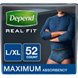 Depend Real Fit Incontinence Maximum Absorbency Briefs for Men, Large/X-Large, Blue, 52 Count