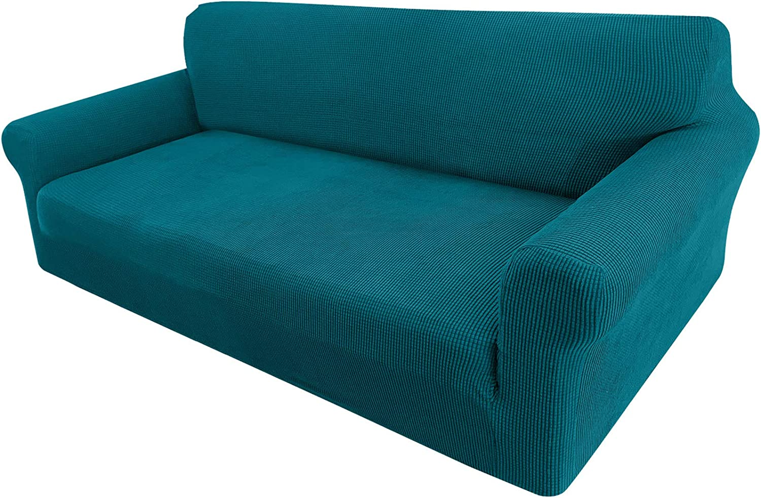 Granbest High Stretch Couch Cover 1-Piece Stylish Sofa Covers for 3 Cushion Couch Jacquard Sofa Slipcover Living Room Furniture Protector for Dogs Pets (Large, Blackish Green)