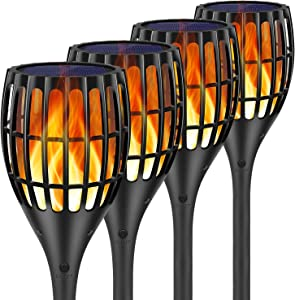 Toyawany Solar Lights Upgraded, Waterproof Flickering Flames Torches Lights Outdoor Solar Spotlights Landscape Decoration Lighting Dusk to Dawn Auto On/Off (Upgrated-4Pack)