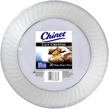 Amazon Com Chinet Cut Crystal Clear Plastic 10 Inch Plates 20 Ct