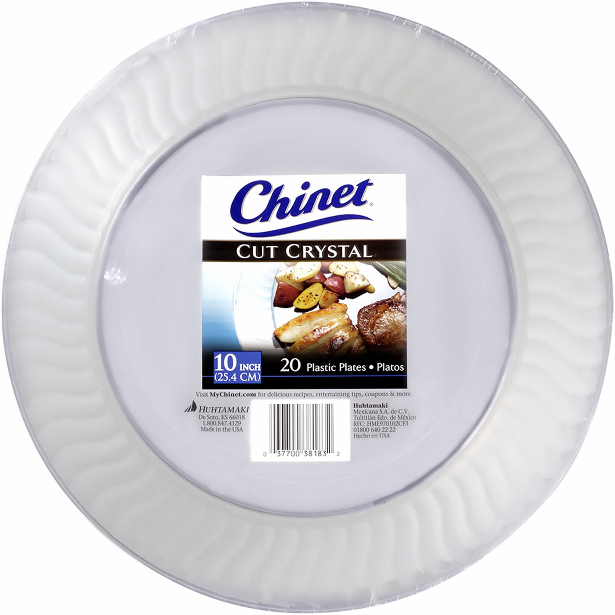 Chinet Cut Crystal Clear Plastic 10 inch Plates 20 ct.