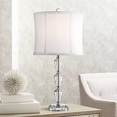 Goddin Modern Accent Table Lamp Faceted Crystal Column Geneva White Drum Shade for Living Room Family Bedroom Office – Vienna Full Spectrum