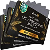Natural Bamboo Charcoal Blotting Paper - 300 Super Large & Absorbent Sheets (120x75mm) - Make Up Friendly - Easy Take Out Des