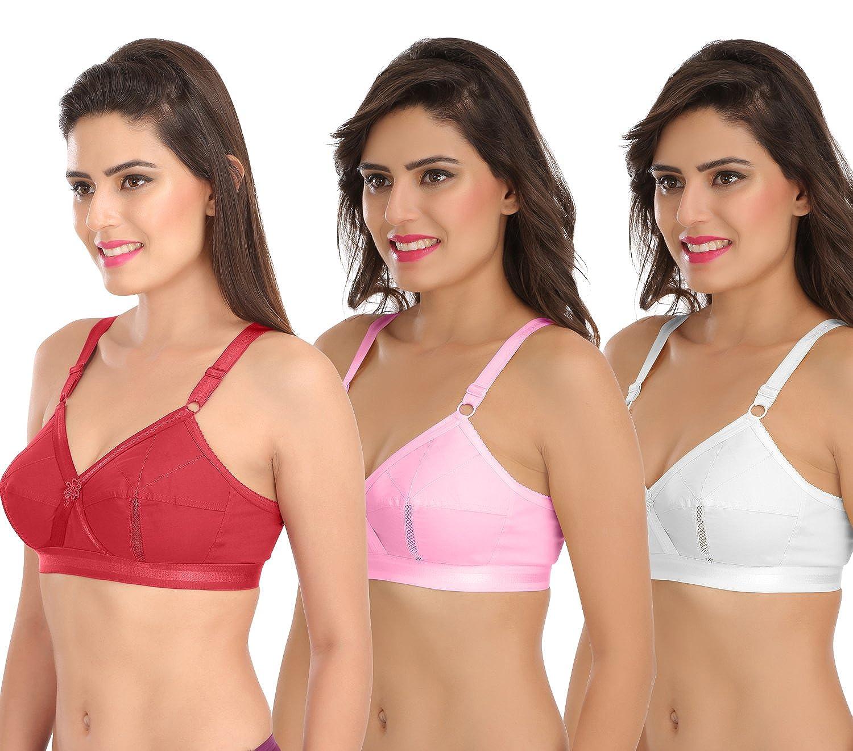e1a3786cbd Sona Perfecto Women Plus Size Cotton Bra- Full Coverage Non Padded Pack of  2 at Amazon Women s Clothing store