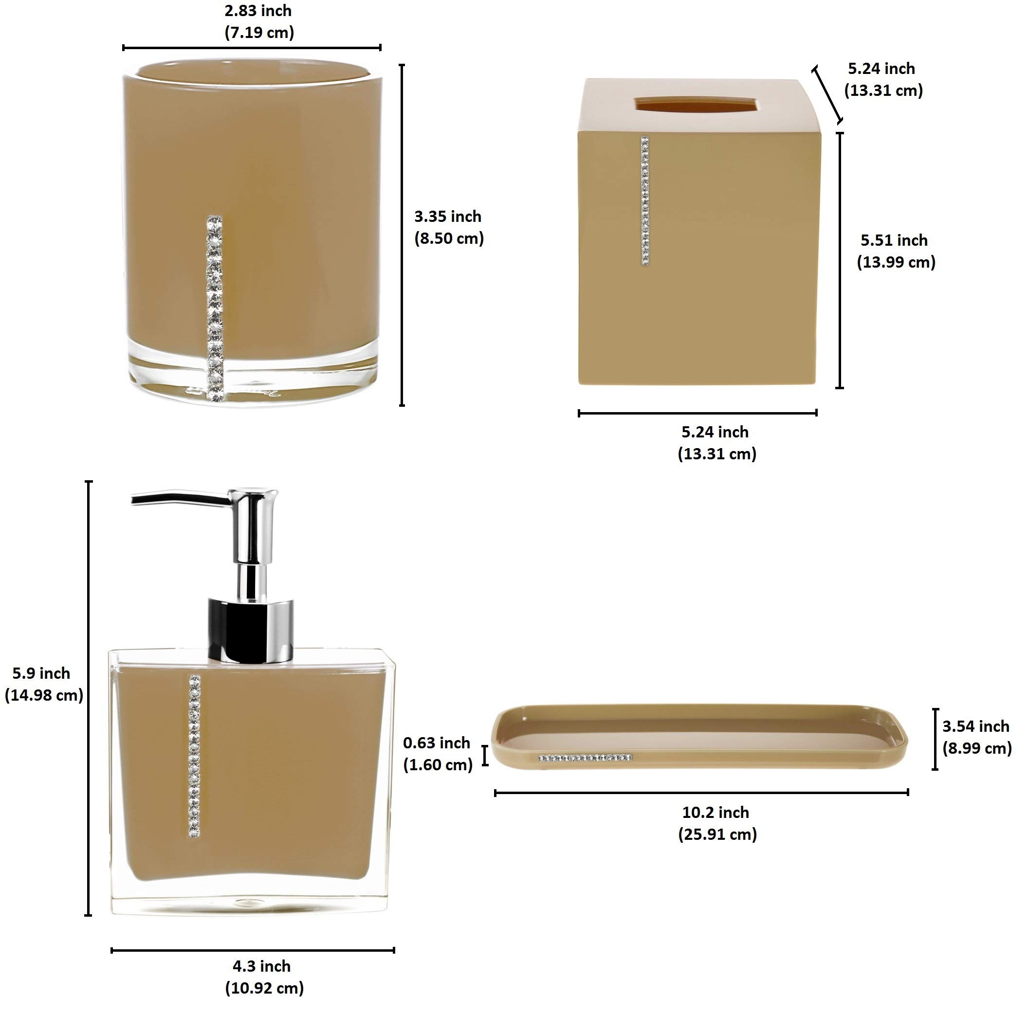 3 Pieces Toothbrush Holder Mdesign Bath Accessory Set Polished Stainless Steel Metrodecor Soap Dispenser Pump Tissue Box Cover Bathroom Accessory Sets Bathroom Accessories