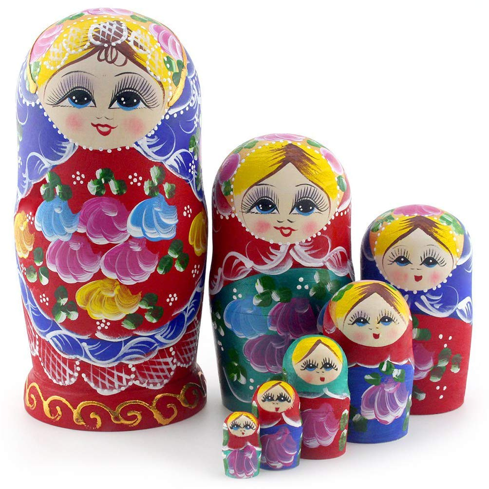 Starxing Russian Nesting Dolls Matryoshka Wood Stacking Nested Set 7 Pieces Handmade Toys for Children Kids Christmas Mother's Day Birthday Home Room Decoration Halloween Wishing Gift by Starxing