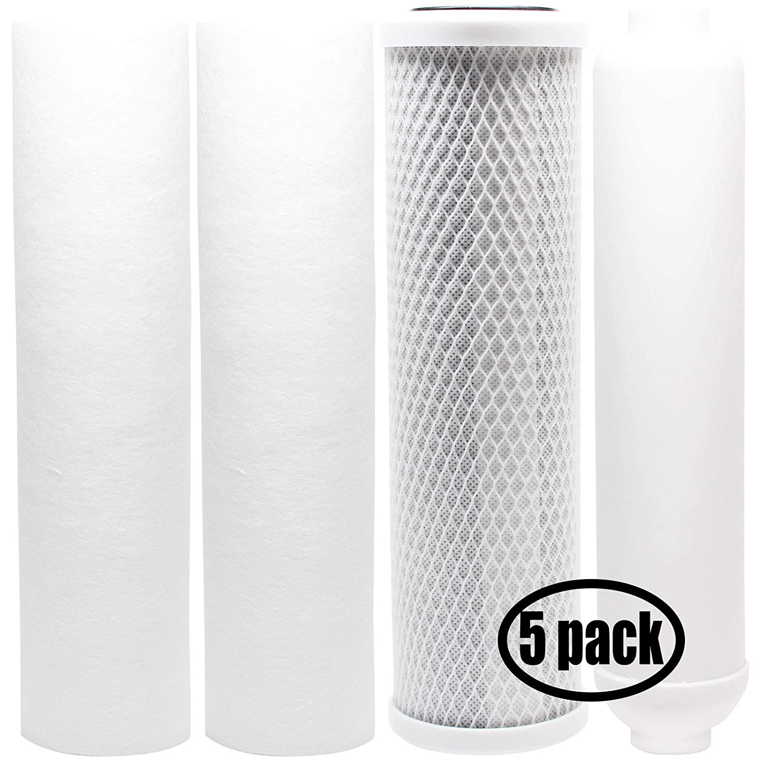 5-Pack Replacement Filter Kit Compatible with PurePro EC105-UV RO System - Includes Carbon Block Filter, PP Sediment Filters & Inline Filter Cartridge - Denali Pure Brand