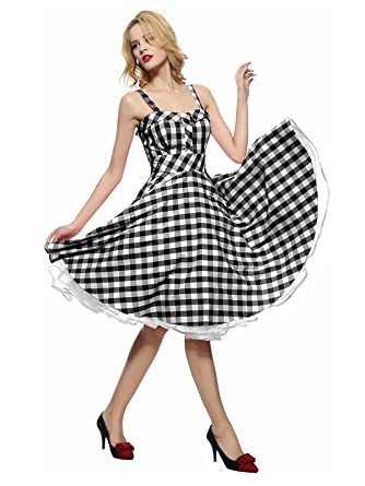 f2a21f5fc52 Maggie Tang Women s 1950s Vintage Rockabilly Dress Black Checks Size S