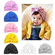 DANMY Baby Girl Hat with Rabbit Ears Toddlers Soft Turban Knot Bow Cap (dot (as Shown))