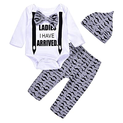 f062cda04f8 AlwaysFun 3Pcs Infant Baby Unisex Long Sleeve Big Bowtie Letters Bodysuit  Funny Moustache Pants Hat Outfits