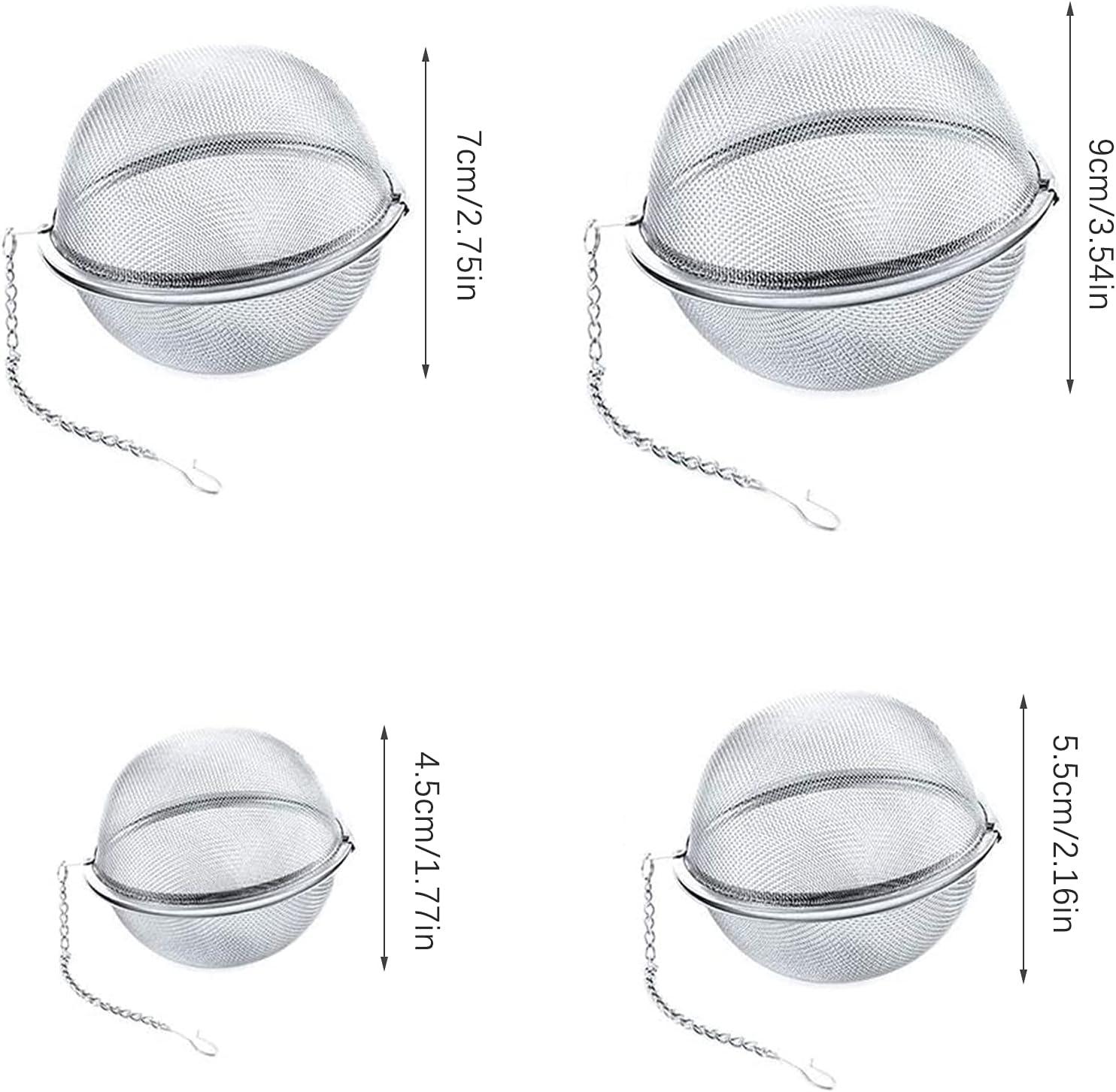 Keleily Colador de T/é,4 Piezas Infusor de T/é Acero Inoxidable de t/é de malla de bolas filtro de t/é de bolas de t/é con gancho de cadena extendido para t/é de hojas sueltas y especias y condimentos