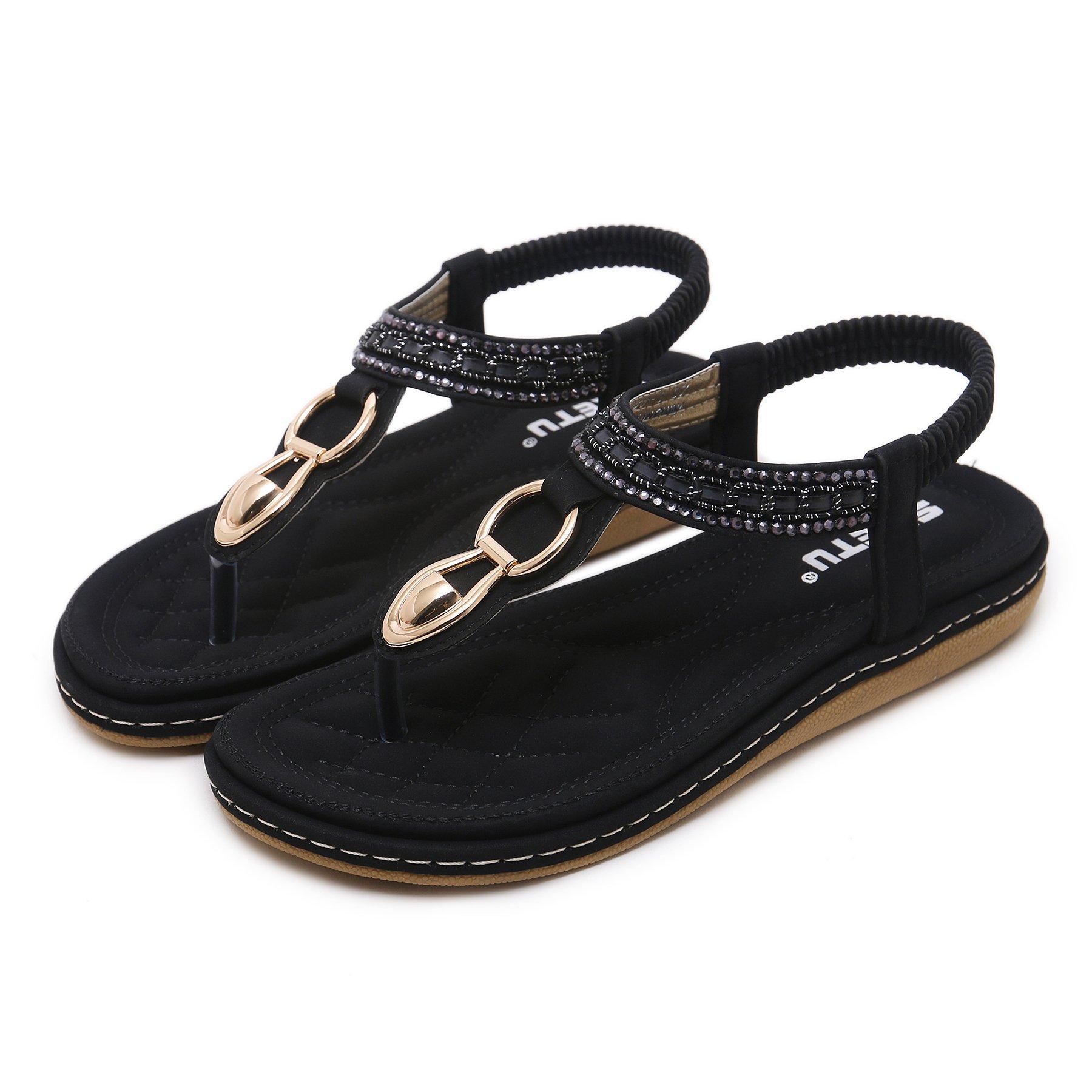Memorygou Women Flat Sandals Bohemian Style T-Strap Thong Shoes Metal Buckled Crystal Flip Flops Black US 11