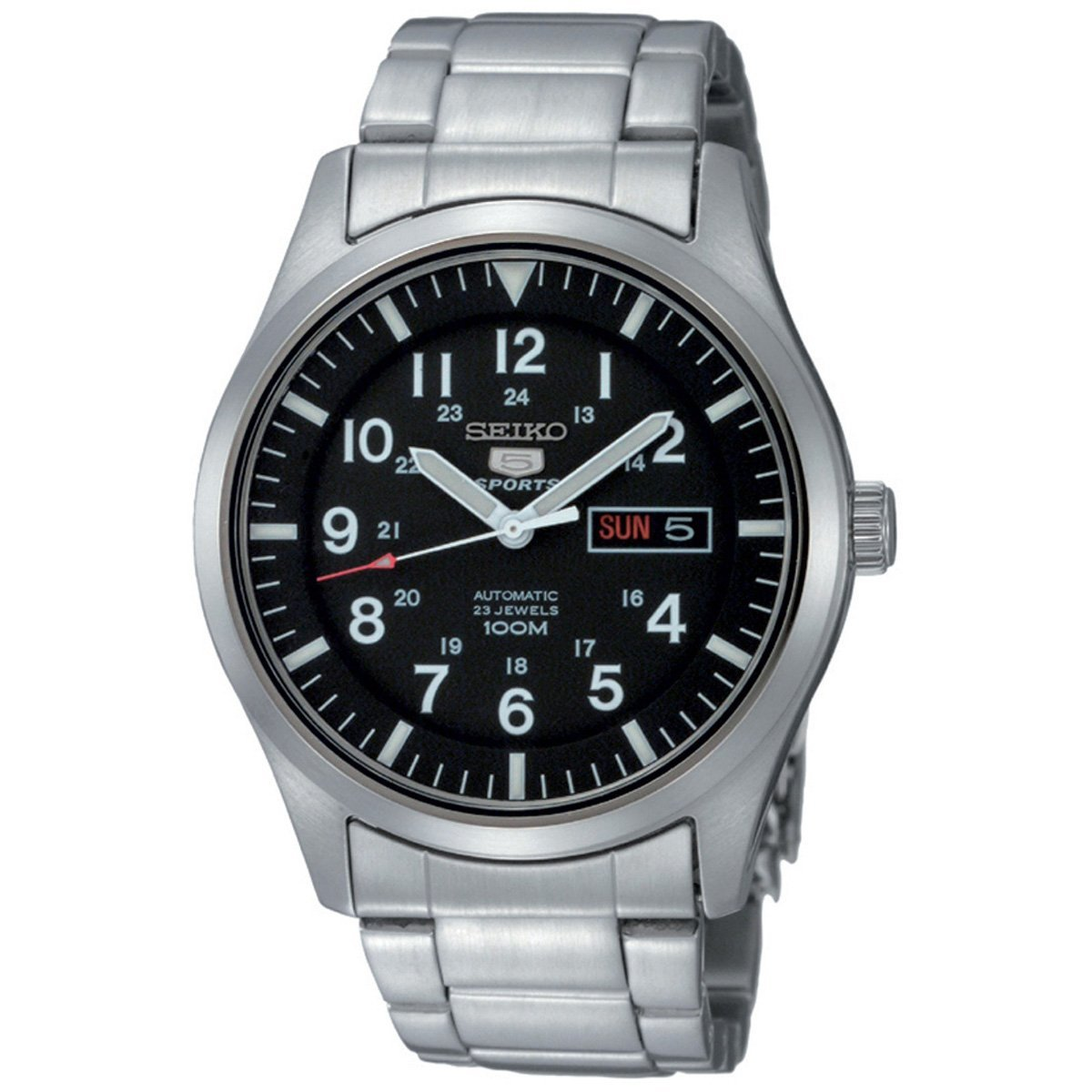 Amazon.com: Seiko 5 AutomaticBlack Dial Stainless Steel Mens Watch SNZG13K1: Seiko: Watches