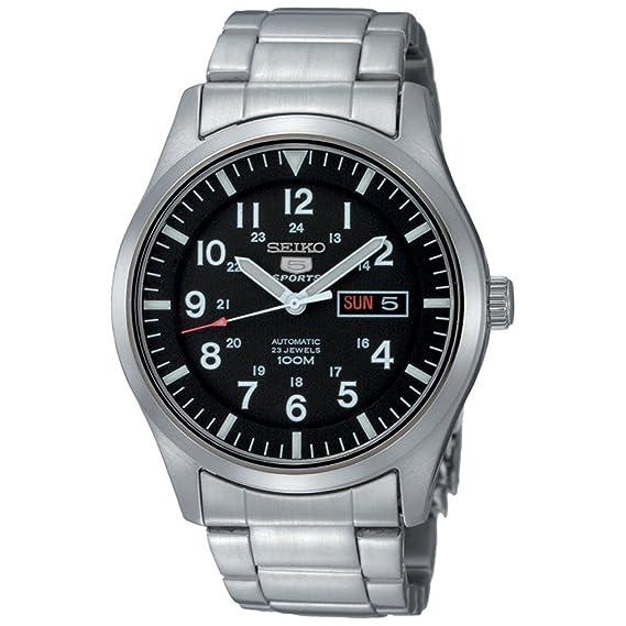 5c786b38a0cb Seiko Reloj Analógico Automático para Hombre con Correa de Acero Inoxidable  - SNZG13K1  Amazon.es  Relojes