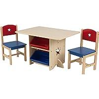 KidKraft 26912 Star Wooden Table & 2 Chair Set with storage bins, kids children's playroom / bedroom furniture - Red & Blue
