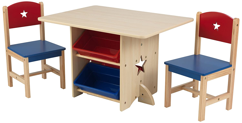 KidKraft 26912 Ensemble table et 2 chaises en bois Etoile incluant 4 bacs de rangement, chambre enfant - coloris rouge et bleu