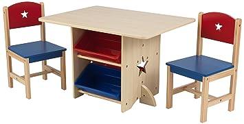 KidKraft 26912 Ensemble Table Et 2 Chaises En Bois Etoile Incluant 4 Bacs De Rangement
