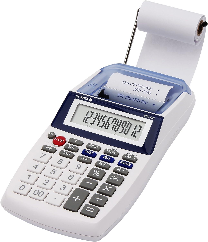 Olympia CPD 425 - Calculadora con impresión, pantalla LCD de 12 dígitos (119,9 x 102,2 x 45,7mm)