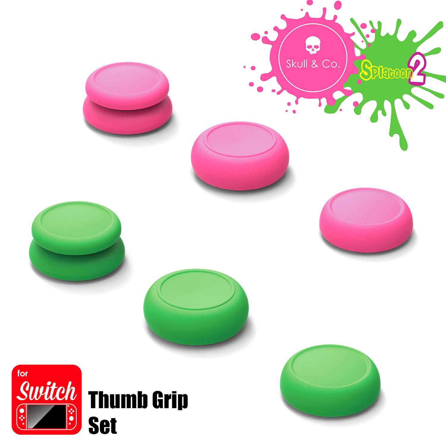 Skull & Co. Skin, Cqc And Fps Thumb Grip Set Joystick Cap Analog Stick Cap For Nintendo Switch Joy Con Controller   Neon Pink+Green(Splatoon2 Edition), 3 Pairs(6pcs) by Skull & Co.