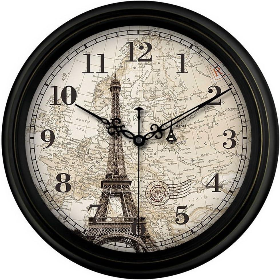 JPVGIA Reloj De Pared Antiguo De Cuarzo con Franja Silenciosa De Barrido Silencioso Antiguo De Francia, París, con La Torre Eiffel (Size : 14 Inches)