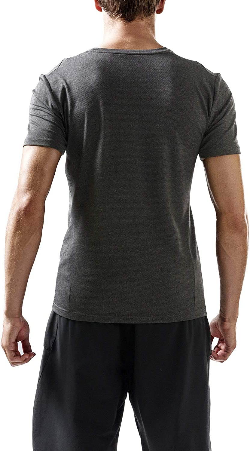 Outto Mens Fitness V-Neck Short Sleeve Quick Dry Running T-Shirt Top Large, 128T Black Gray