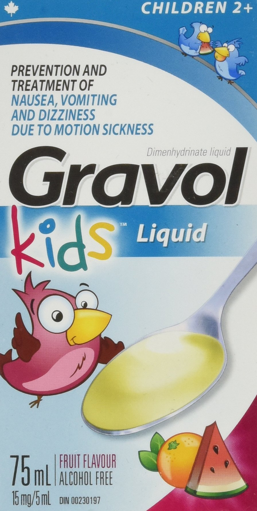 Children's Liquid GRAVOL for NAUSEA, VOMITING, DIZZINESS & MOTION SICKNESS Ages 2+ (75ml size) by Gravol