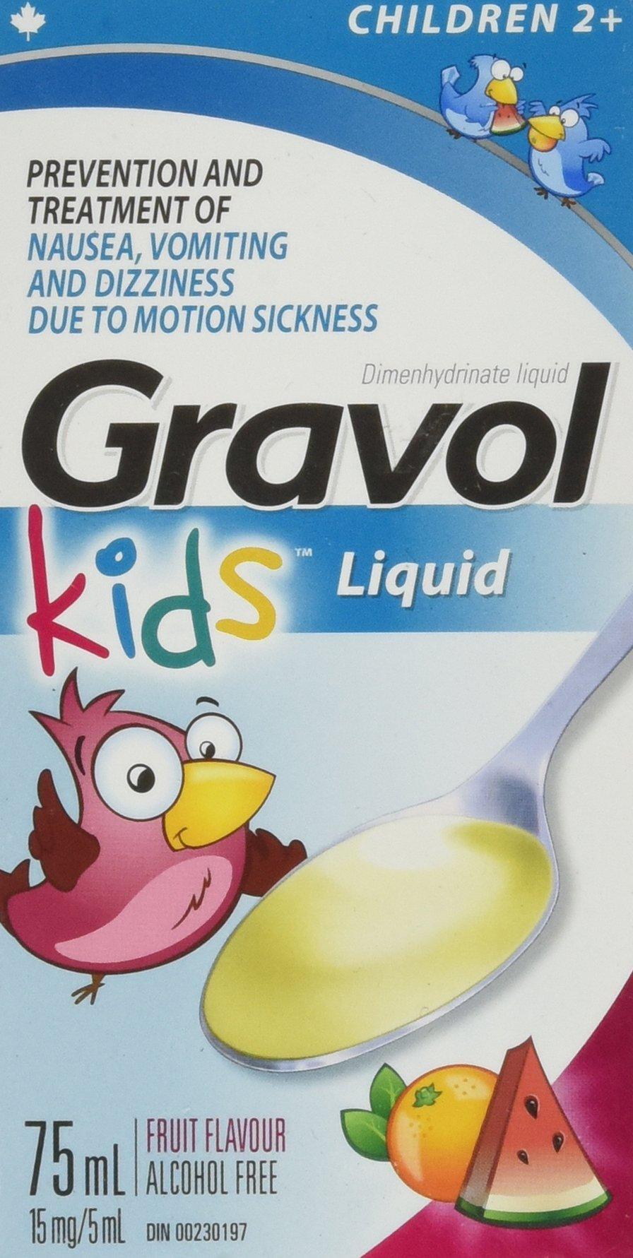 Children's Liquid GRAVOL for NAUSEA, VOMITING, DIZZINESS & MOTION SICKNESS Ages 2+ (75ml size)