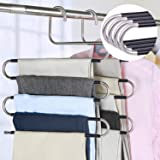 devesanter Pants Hangers Space Save Non-Slip 4 Pack S-Shape Trousers Hangers Stainless Steel Clothes Hangers Closet Storage O