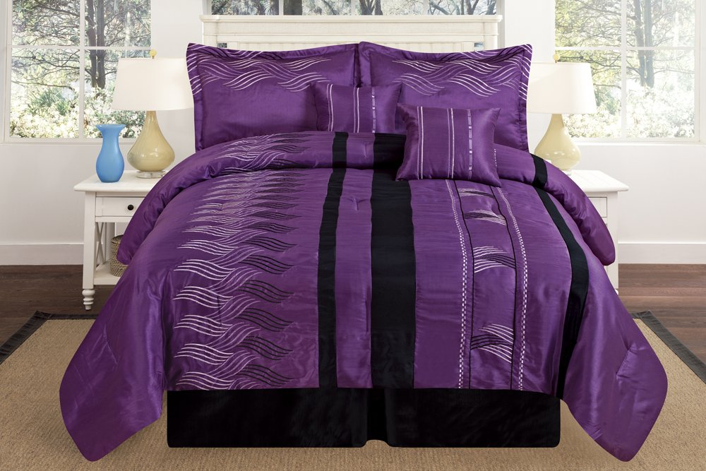 Luxury Oversize Queen Purple / Black Embroidery Comforter Bedding in a Bag Set