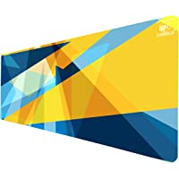 Zarrius AU Extra Large Extended Gaming Mouse Pad Keyboard Desk Mat XL - 90x40cm - 3mm - Geometric Triangles Blue/Yellow -Non-Slip Rubber Base