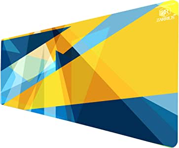 Zarrius AU Extra Large Extended Gaming Mouse Pad Keyboard Desk Mat XL - 90x40cm - 3mm - Water-Resistant - Geometric Triangles Blue/Yellow -Non-Slip Rubber Base