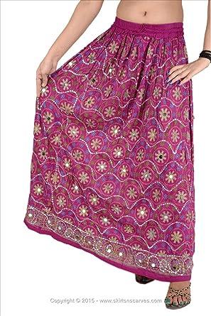 Falda Larga de rayón con Lentejuelas para Mujer Skirts N Scarves ...