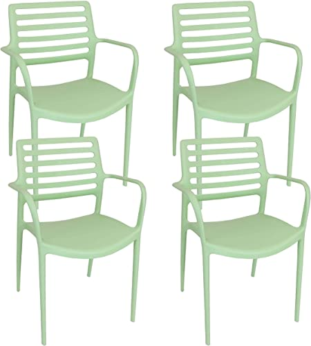 Sunnydaze Astana Plastic Outdoor Dining Chair – Slatted Design Armchair – Commercial Grade All-Weather Patio Lawn and Garden Chair – Indoor Outdoor Use – Light Green – 4 Chairs