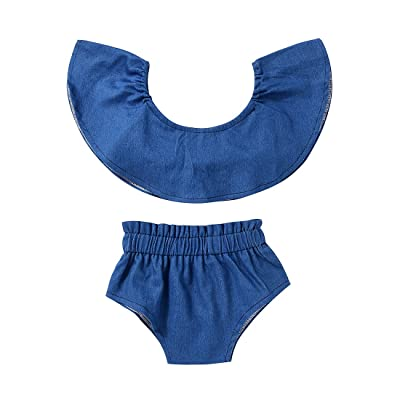 2017 Baby Girls Blue Off Shoulder Tube Top+ Shorts 2 Pcs Outfits Sets Baby Girl Clothes
