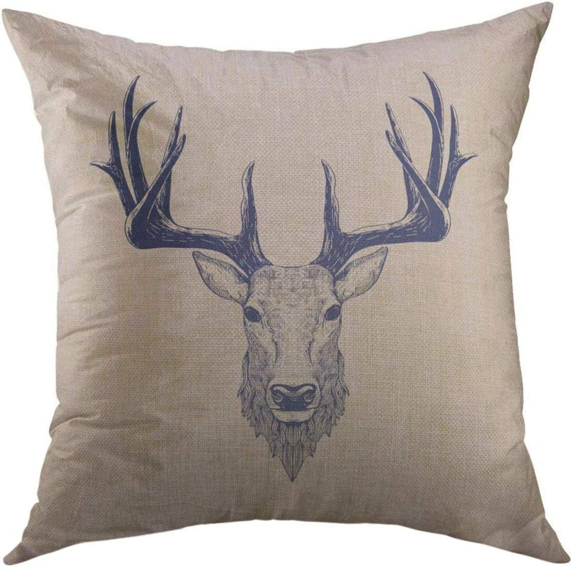 Mugod Decorative Throw Pillow Cover for Couch Sofa,Stag Deer Head Vintage HDrawn Christmas Home Decor Pillow Case 18x18 Inch