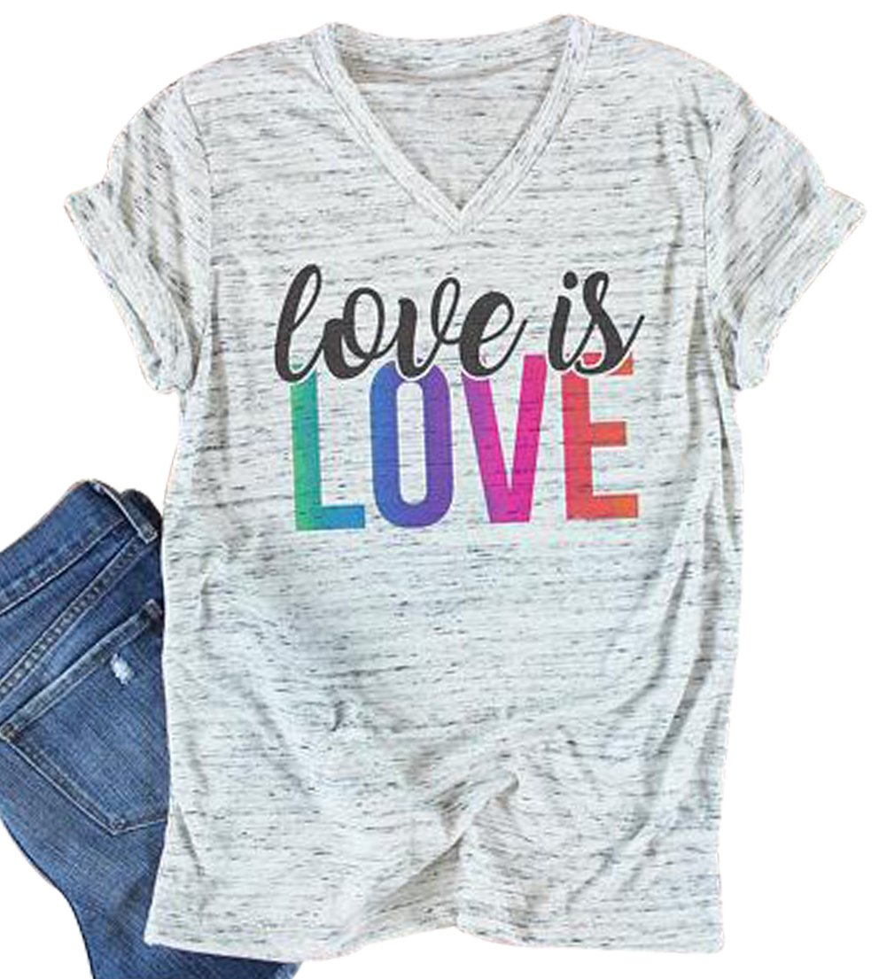 Love is Love Colorful Letter Print T-Shirt Womens V-Neck Casual Short Sleeve Tee Size XL (Light Grey)