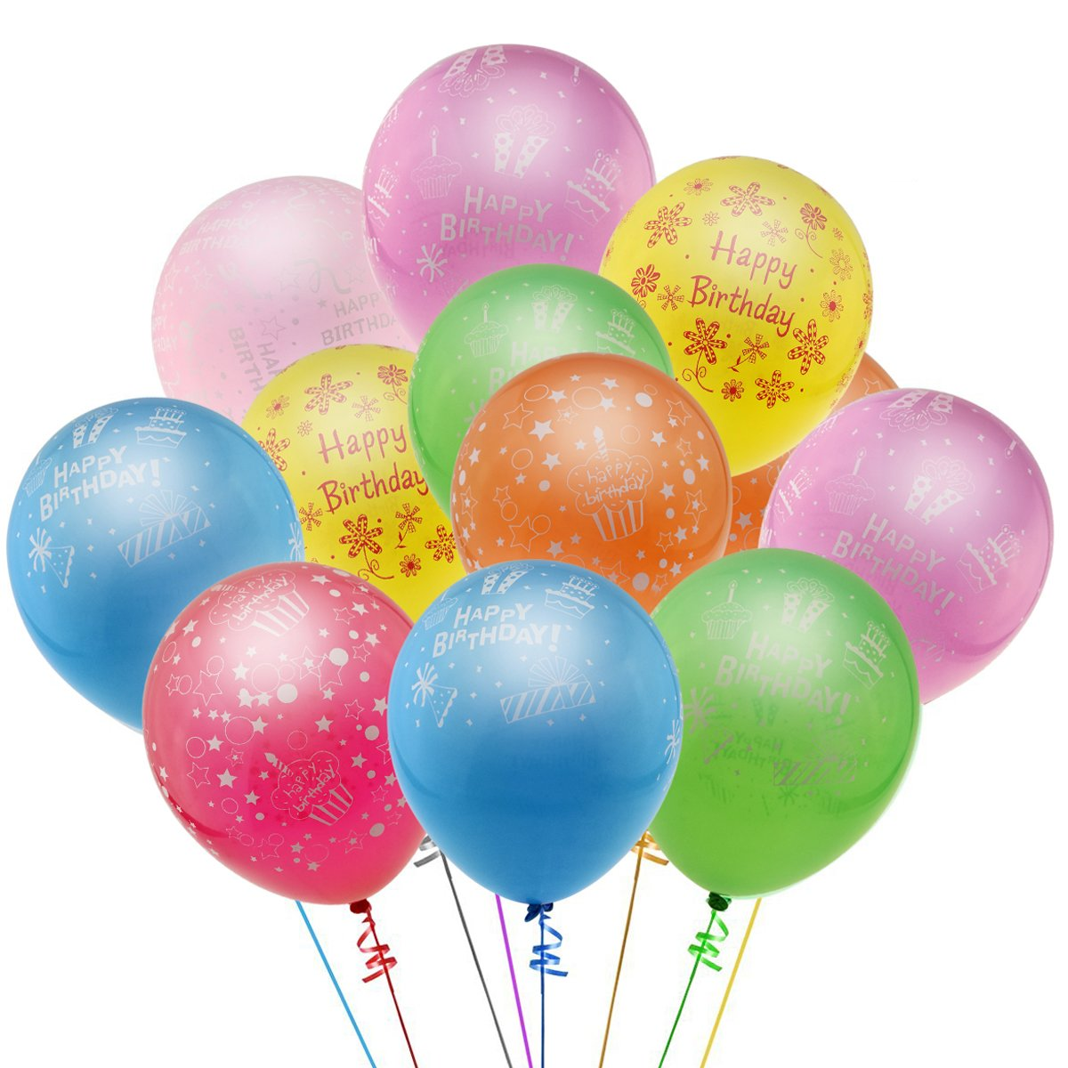 "KUMEED 12"" Happy Birthday Celebration Assorted Color Latex Balloons Pack of 100"