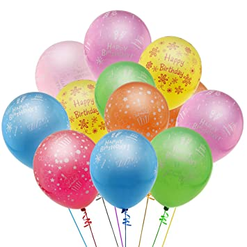 Buy KUMEED 12 Happy Birthday Celebration Assorted Color Latex Balloons Pack Of 100 Online At Low Prices In India