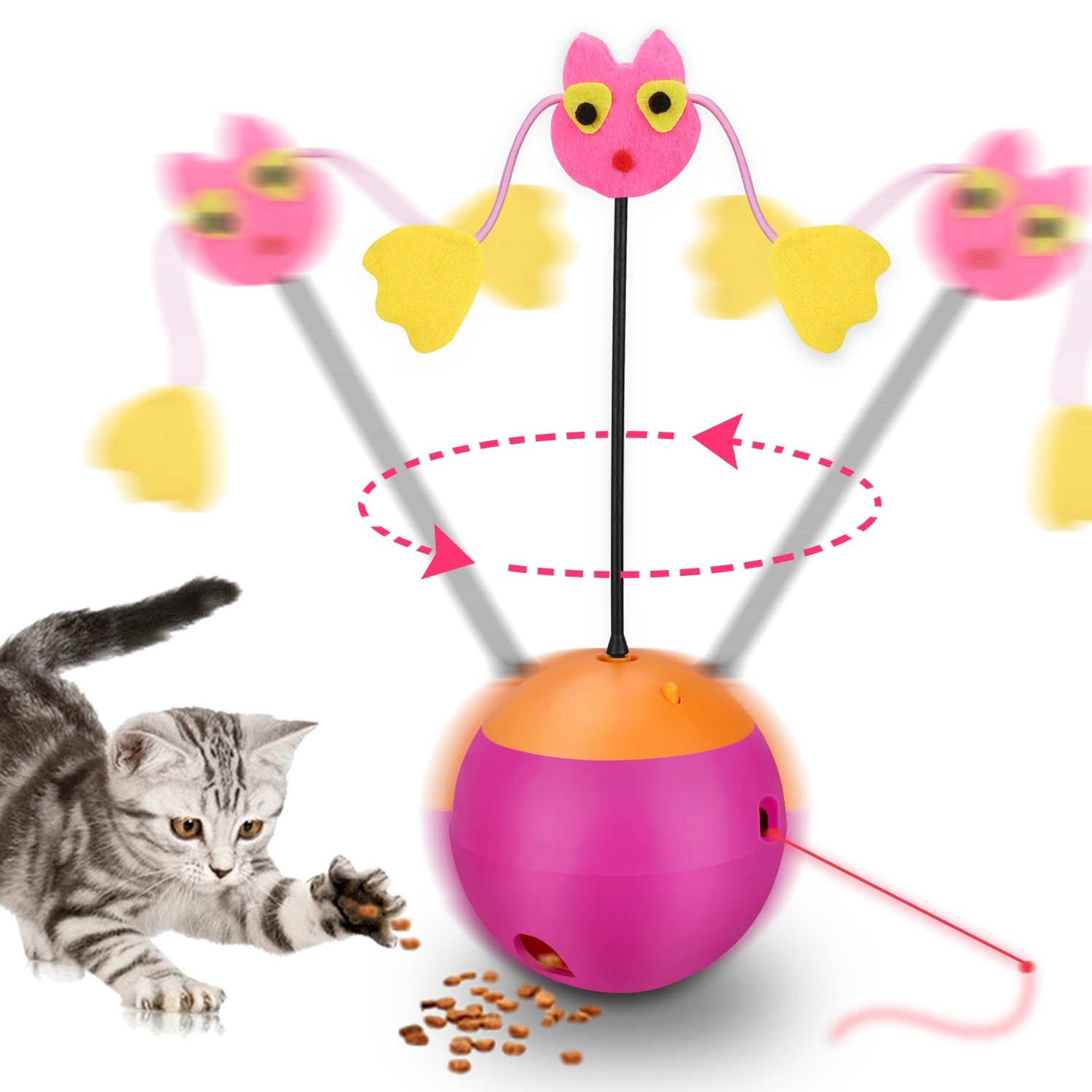 Yofun Interactive Cat Toy, 3 in 1 Multi Function Automatic Spinning Cat Toy Ball Tumbler with Chaser Light and Food Dispenser for Kitty and Kitten, Pink (Pink)