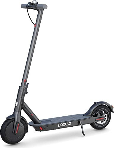 Populo Electric Scooter – 8.5 Pneumatic Tires – Up to 14.5 Miles 15 MPH Portable Folding Commuting Scooter for Adults with Double Braking System.