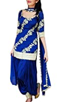 Spangel Enterprise Women's Cotton Silk Salwar Suits Set (Blue,Free Size)