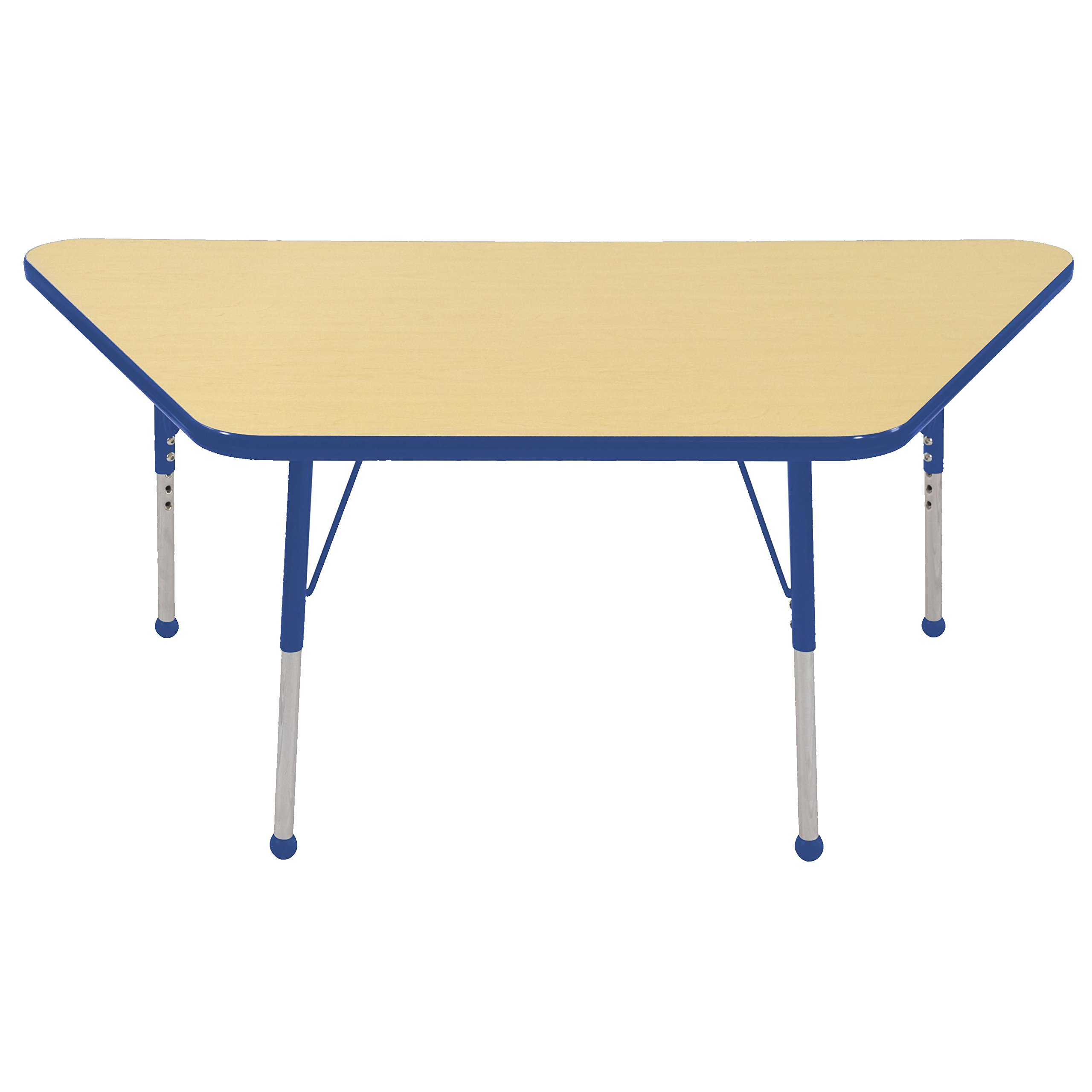 ECR4Kids Mesa Thermo-fused 30'' x 60'' Trapezoid School Activity Table, Toddler Legs w/ Ball Glides, Adjustable Height 15-23 inch (Maple/Blue)