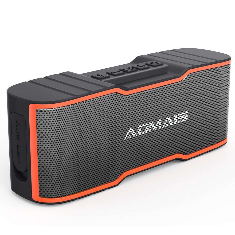 AOMAIS Sport II MINI Portable Bluetooth Speakers with 10W Superior Sound, Built-in Mic, Stereo Pairing, IPX4 Water-resistant Wireless Speaker for iPhone, iPod, iPad, Tablets, Echo Dot (Orange) by AOMAIS