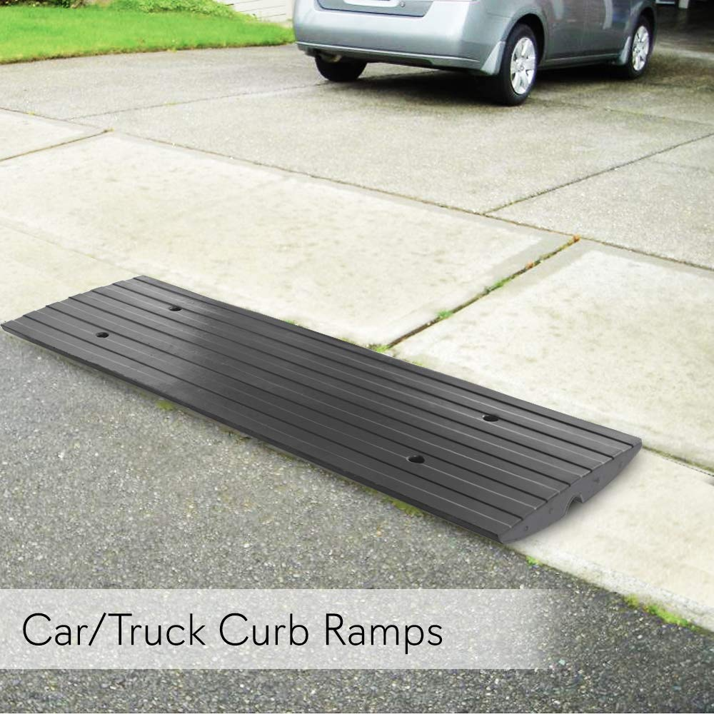 Pyle Car Driveway Adjustable Curb Ramps - 3 Pack Heavy Duty Rubber  Threshold Ramp Kit Set - Also for Loading Dock, Garage, Sidewalk, Truck,  Scooter,