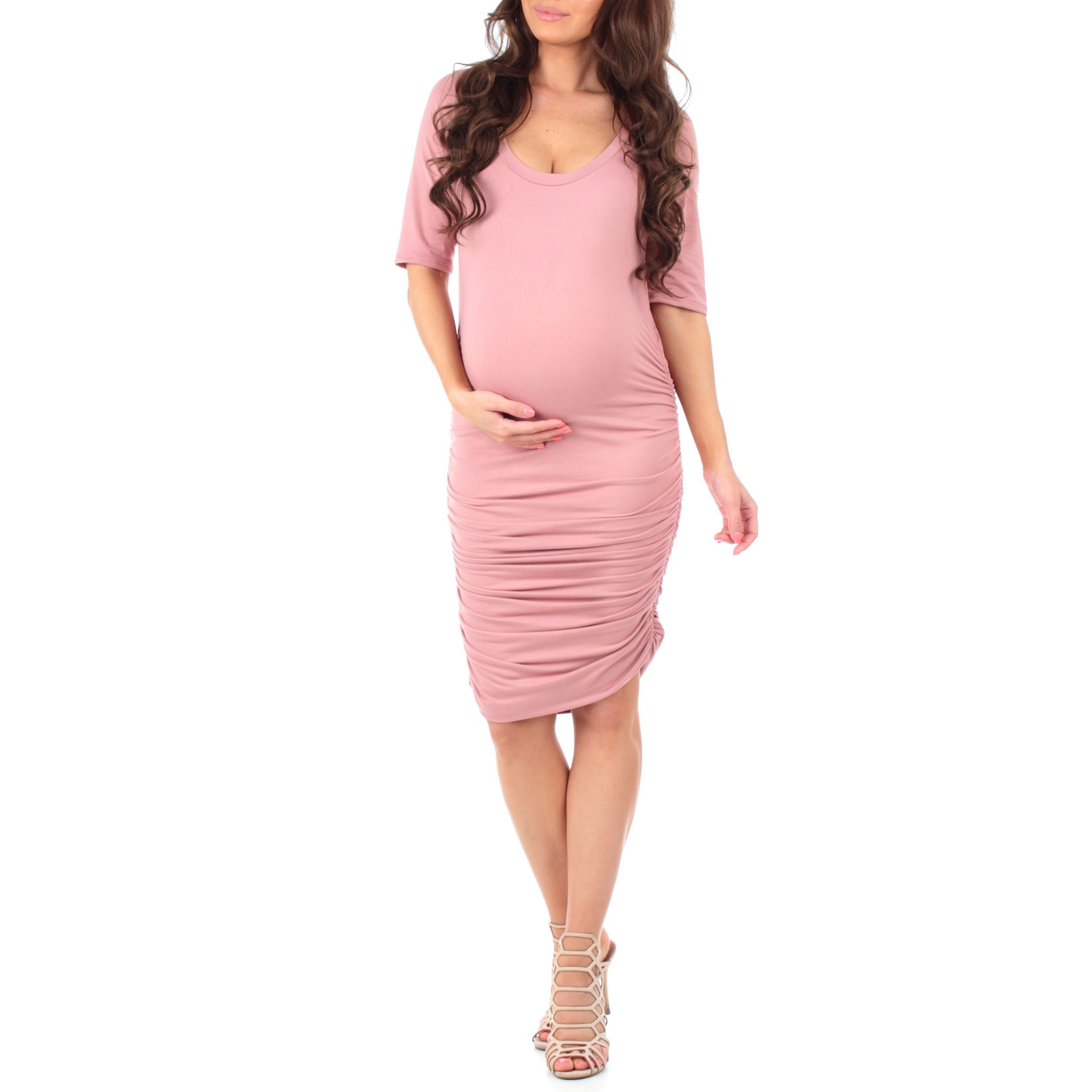 Women's Super Soft Side Ruched Maternity Dress by Mother Bee Mauvebr, Small