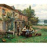 Café no Jardim de Daniel Ridgway Knight - 50x60 - Tela Canvas Para Quadro