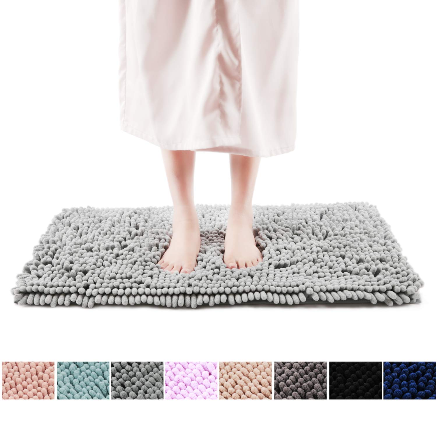 20 x 32, Light Gray FRESHMINT Chenille Bath Rugs Extra Soft Fluffy and Absorbent Microfiber Shag Rug Non-Slip Runner Carpet for Tub Bathroom Shower Mat Machine-Washable Durable Thick Area Rugs