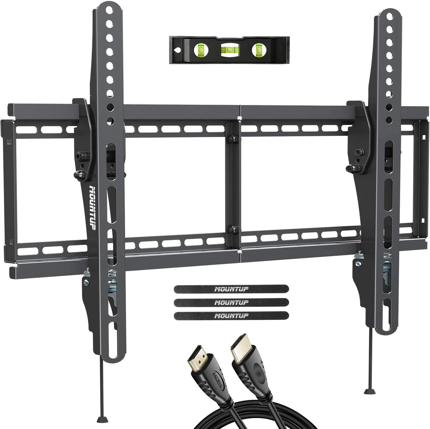 "MOUNTUP Tilting TV Wall Mount Bracket for Most 37-70 Inches TVs, TV Mount with 10 Degrees Smooth Tilt, Low Profile TV Wall Mount, Easy Install on 16"", 18"", 24"" Studs Loading Capacity 110 lbs MU0008"