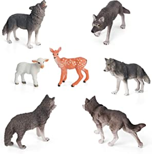 Volnau Wolf Toys Figures Animal Toys 7PCS Wolf Figurines Zoo Pack for Toddlers Kids Christmas Birthday Gift Preschool Educational Sheep Wolf Jungle Forest Animals Sets